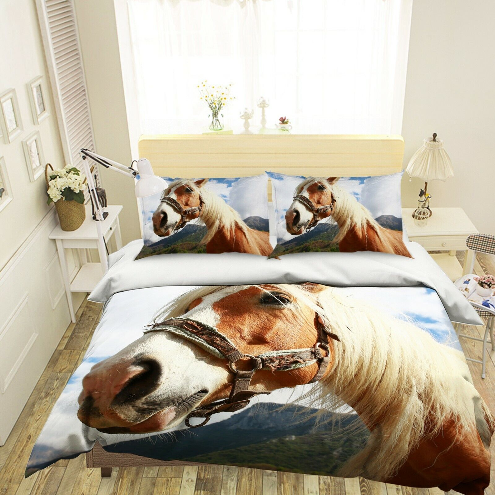 3D Horse N62 Animal Bett Pillowcases Quilt Duvet Startseite Königin König Amy