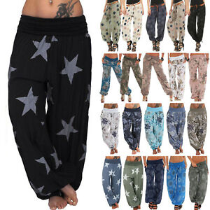 Baggy-Gypsy-Harem-Pants-Yoga-Boho-Womens-Casual-Floral-Loose-Trousers-Plus-Size