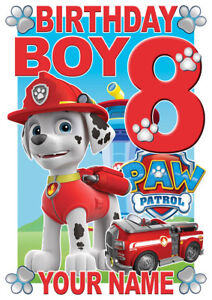 Image Is Loading Paw Patrol Birthday Boy Marshall Personalised Boys T
