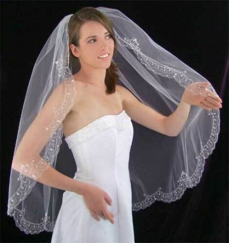 White or Ivory Austrian Crystal Embroidered Hip or Cathedral Length Bridal Veil