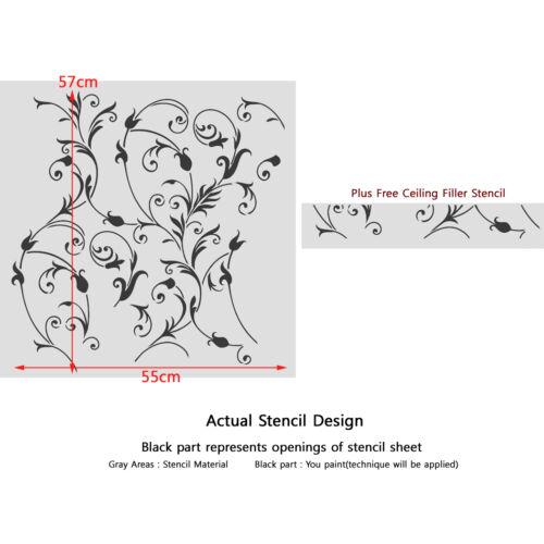 Large Floral Wall Stencil DIY Wall decor stenciling Idea