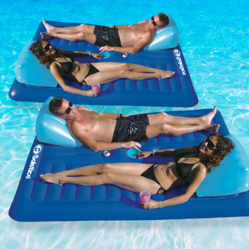 "Swimline 79/""L x 65/""W Swimming Pool Lake Face-2-Face 2 Person Lounger Float 2Pk"
