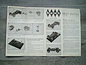 HAWK Original 1962 INDY RACER model kit instruction sheet