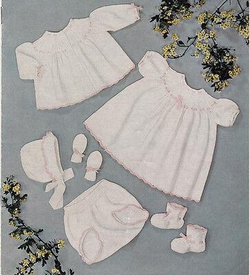 Knitting Pattern-Dress-Jacket-Pants-hat-mitts-boots on 1 pattern-4ply wool 0-6m