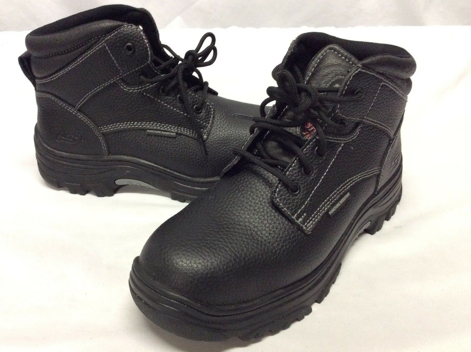 Skechers Work Men's Boots,STEEL TOE Black Leather, Size US 7 M, Eur 39.5 ...FM12