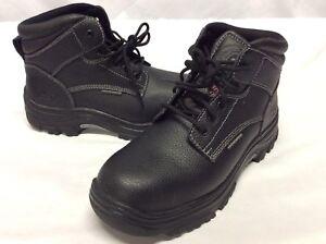 b0717ae566a6 Image is loading Skechers-Work-Women-s-Boots-STEEL-TOE-Black-