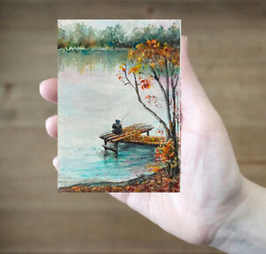 ACEO-Fall-river-fishing-landscape-original-oil-canvas-painting-art-card