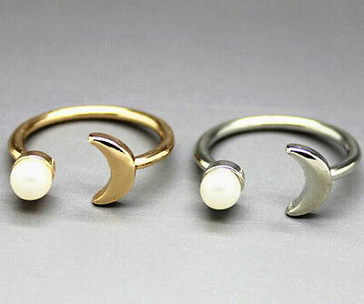 1pc Size 7 Korea Trendy Simple Moon Design Pearl Alloy Unisex Open Ring 2 Color