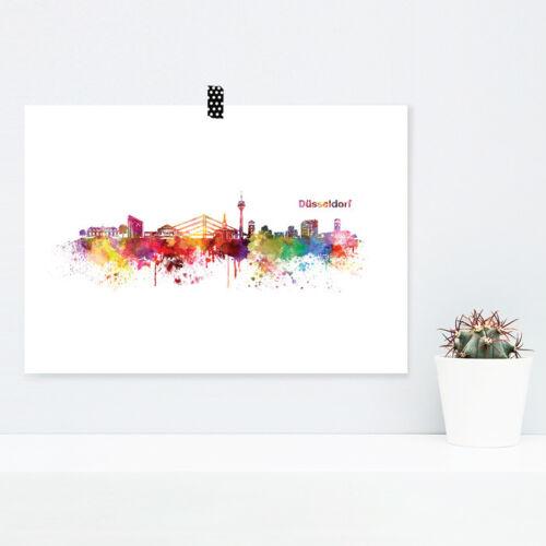"""JUNIWORDS Poster /""""Skyline Düsseldorf/"""" in Aquarell Geschenk DIN A4 A3 A2 A1"""