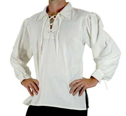 Men/'s Renaissance Peasant Pirate Shirt Medieval Lace Up Tops Cosplay Costume