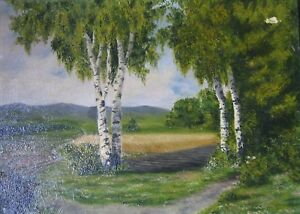 ::: Summer Landscape Oil Painting on Stretcher Birch Trees Forest Trail Natural