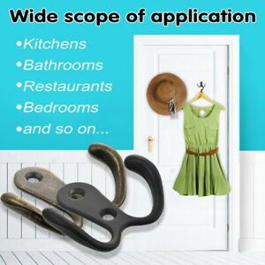 10x-Double-Prong-Robe-Hook-Wall-Mounted-Retro-Hooks-Coat-Scarf-Bag-Towel-Cap-Cup