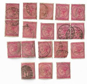 Natal-circa-1882-89-Queen-Victoria-1d-red-stamps-x-18