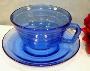 Cobalt-Blue-Depression-Glass-Hazel-Atlas-Moderntone-Cup-amp-Saucer