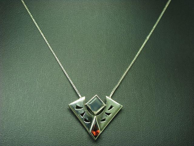 925 Sterling silver Collier mit Glasstein Besatz   Echtsilver   43,0cm   8,0g