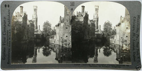 BELGIUM From 600//1200 Card Set #380 Keystone Stereoview of the Canals of Bruges