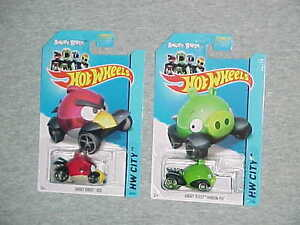 """MATTEL HW 2013 Angry Birds """"RED"""" and """"GREEN MINION"""" VHTF NEW HOT WHEELS"""