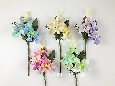 5 Paper Flower Sprays scrapbook wedding card home decor craft supply SP1-426