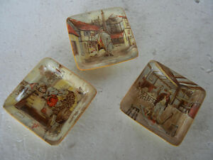 3-Vintage-New-Hall-Hanley-England-Litho-Print-Ash-Tray-Oliver-Twist