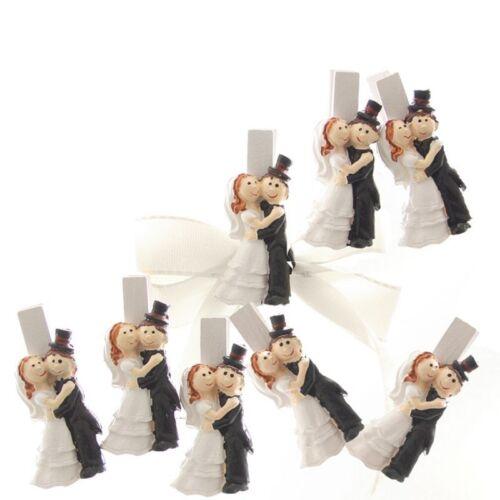 8 x Deko Holzklammer Brautpaar Hochzeit Tischkartenhalter Gastgeschenk Tischdeko