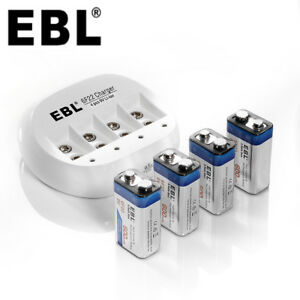EBL-Lot-of-600mAh-9V-6F22-Li-ion-Rechargeable-Batteries-9-Volt-Battery-Charger