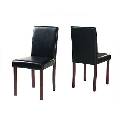 Dark or Light Brown Wooden Set of 2 or 4 Chairs Dining Furniture Faux Leather