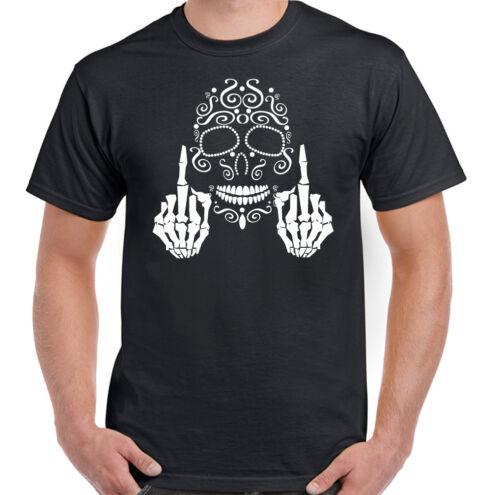 Tête de Mort Calavera Doigt Du Milieu Hommes Jour des Morts T-Shirt Vélo Moto