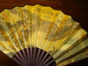 Fine-Chinese-WOODEN-SILK-FABRIC-FAN-FIGURAL-RARE-COLLECTORS-FAN
