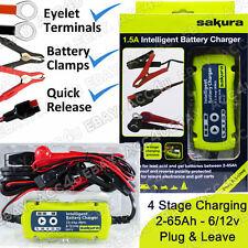 Sakura SS5313 6v 12v 1.5A New Plug & Leave Car Intelligent Smart Battery Charger