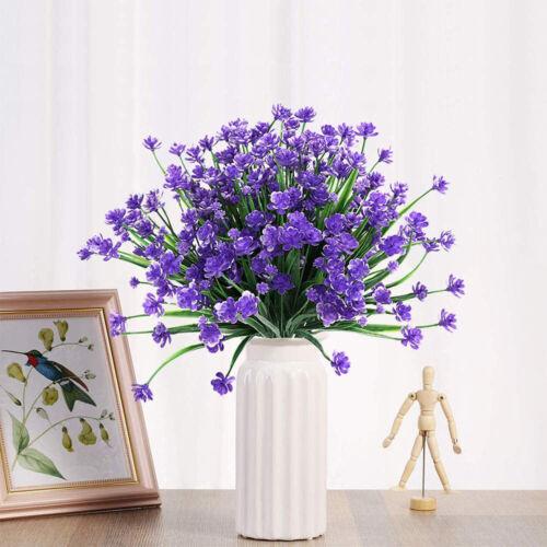 4 Bundles Artificial Flowers Fake Outdoor Home Garden Decor Plants UV Resistant