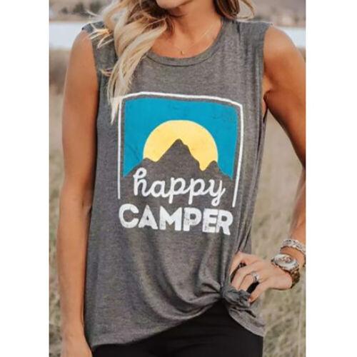 HOT Summer Womens Casual Loose Fashion Print Tank Top Sleeveless Shirt Tops Vest