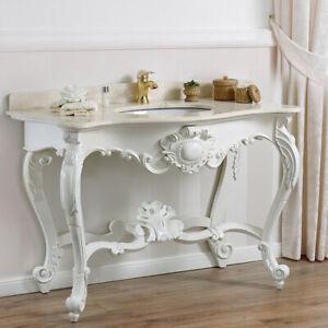 Details zu Konsolentisch Luigi Filippo Shabby Chic Stil Badmöbel Antik weiß  Marmorplatte cr