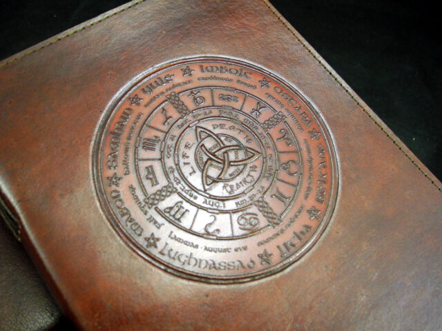 A5 Wheel of the Year Handmade Pagan Wicca Leather Journal Book of Shadows Diary