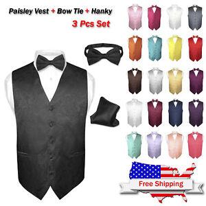 10f27e2c554b Men's Dress VEST Bow Tie Hankie Set PAISLEY Design for Suit Tuxedo ...