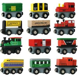 12-Piece-Wooden-Train-Cars-Magnetic-Set-Includes-3-Engines-Magnet-Train-Toy