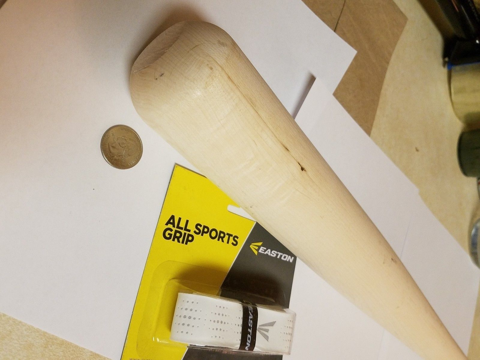 34  Game Ready Unfinished  Naked  Solid Maple Baseball Bat W Easton grip. DIY