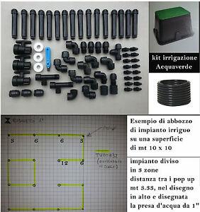 Dettagli Su Kit 65pz Impianto Irrigazione 3 Zone 100 150 Mq Pioggia Scomparsa Prato Giardino