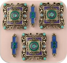 2 Hole Beads Aqua Teal Purple Enamel & Crystal Squares/Spacers ~ Sliders QTY 6