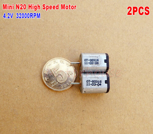2pcs Mini N20 Motor 3.7V~4.2V 32000RPM High speed Carbon Brush DIY Mini Drone