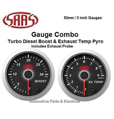 """SAAS Diesel Boost & Exhaust Temp Pyro Gauge 52mm 2"""" Analogue Combo Nissan Patrol"""
