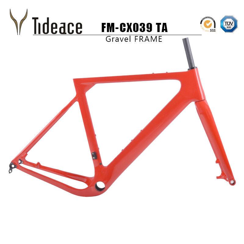 12142mm Thru Axle Cyclocross Frame T800 Carbon Fiber Gravel Red Frame BB386