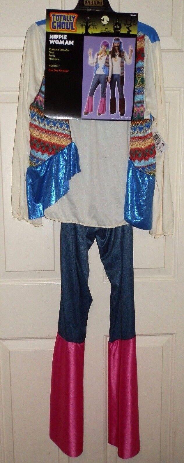 New Juniors OSFM Hippie Costume Halloween Shirt Pants Necklace 70's