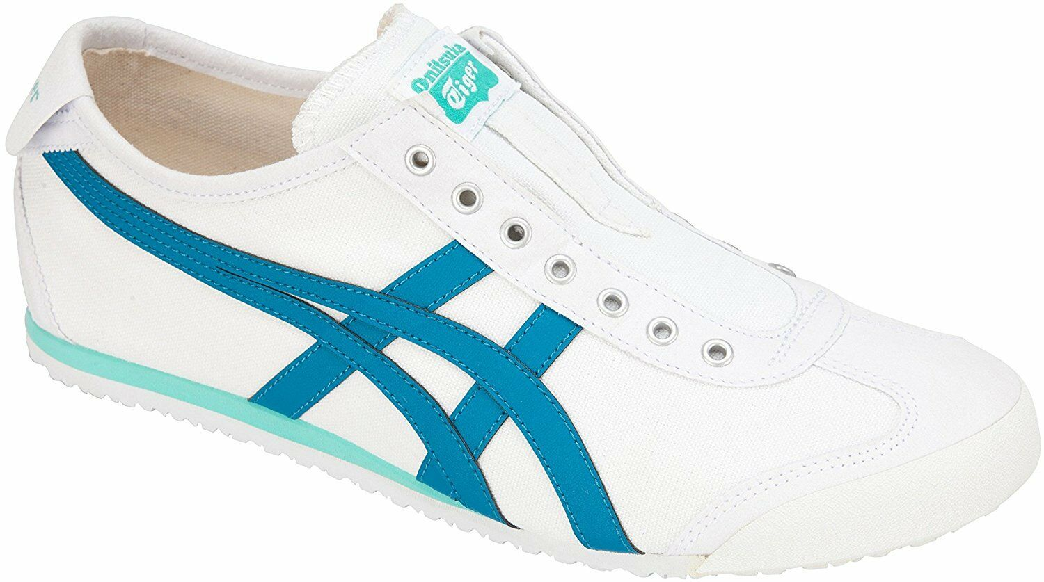 Asics Onitsuka Tiger shoes shoes shoes MEXICO 66 SLIP-ON TH3K0N White / turquoise tile japan 0c2cc5