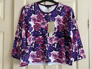 LAURA-ASHLEY-light-Floral-Cardigan-3-4-sleeve-Size-UK-20-BRAND-NEW-with-tag