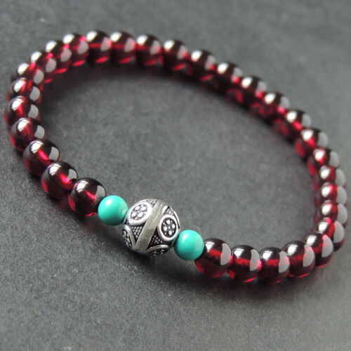 Custom Vintage Bracelet Enhanced Turquoise Grade AAA Garnet Sterling Silver 010