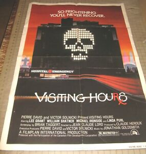 """1982 VISITING HOURS 27"""" x 41"""" One Sheet Theater Poster - Revised Slasher Horror"""