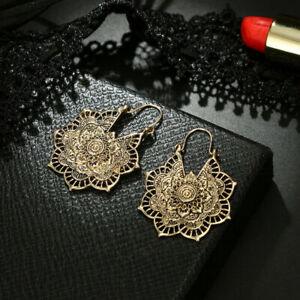 Boho-Indian-Tribal-Earrings-silver-Ethnic-Hoop-Gypsy-Antique-Mandala-Dangle