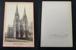 France-Paris-eglise-Sainte-Clotilde-Vintage-albumen-print-carte-cabinet-Ti