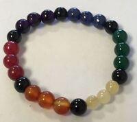 7 Chakra Bracelet: 8 Mm Stones. (reiki Healing Meditation Seven)