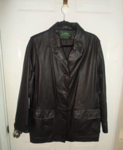 Jacket Lauren Lapels Black Notched Large Sz Button Leather Ralph front fx0zf